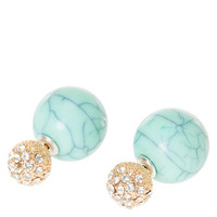 Pave Gold Ball and Turquoise Stone Ball Front and Back Stud Earrings