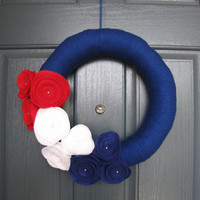 Patriotic Door Wreath - 4th of July Wreath - Stars and Stripes Wreath - USA wreath - Red White Blue Wreath - Door Wreath