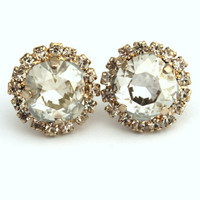 Crystal clear stud Petite vintage earring - 14k plated gold post earrings real swarovski rhinestones .