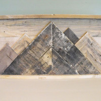 Mountainscape Mountains reclaimed pallet wood wooden sign rustic farmhouse decor wall art outdoors cabin country kitchen