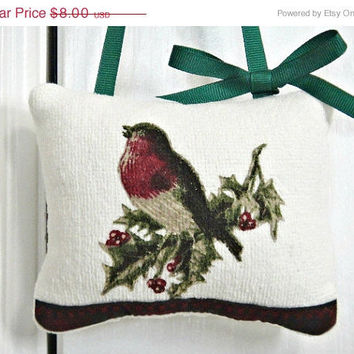 Christmas In July Sale Christmas Bird Door Hanger Pillow Holly Beige Red Green Repurposed