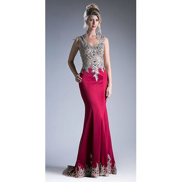 Burgundy Embroidered Mermaid Long Prom Dress Queen Anne Neckline