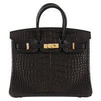 NEW HERMES BIRKIN 25 Matt Alligator Black Gold Hardware