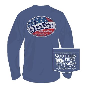 Liberty Label Long Sleeve Tee in Summer Shadow by Southern Fried Cotton