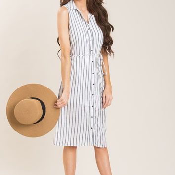 Shay Navy Striped Button Down Dress