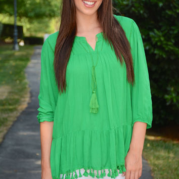 "A ""Peasant"" Surprise top, green"