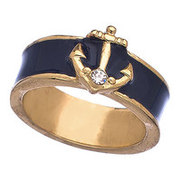 Blu Bijoux Navy Enamel Nautical Ring - Max & Chloe