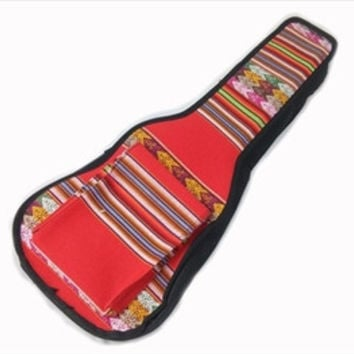 Peru Hand-Made Full-Accent Padded Ukulele Bag in Red India