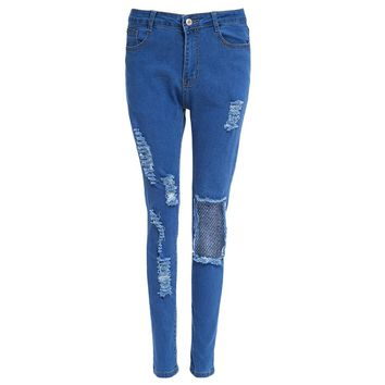 Cotton Material Skinny Hole Women Jeans