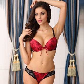 Ladies Adjustable Bra Set Print Lace Underwear [6757932035]