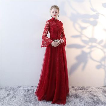Red Stand Collar Ruffles Full Sleeve Cut Put Backless Lace Up Party Formal Dresses Floor Length Evening Dress
