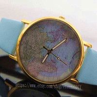 The market's best-selling items, brown leather map of the world watches, unisex watches, Christmas gifts-N 102
