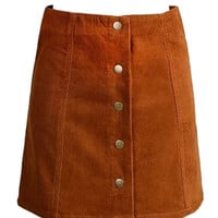Khaki Velvet Button Front A-line Mini Skirt