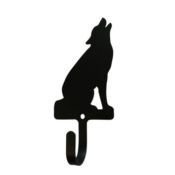 Wrought Iron Sitting Wolf Decorative Wall Hook Small