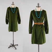 Vintage 60s forest green VELVET babydoll dress / Mod mini dress