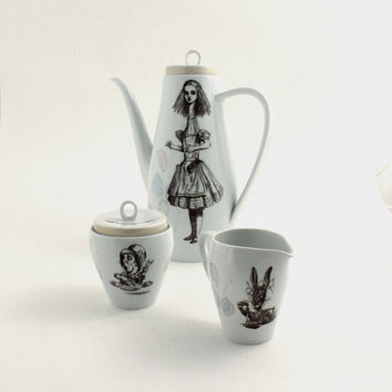 SALE Alice in Wonderland Teapot Set Long  Altered  Lewis Carroll Porcelain Sugar Pot Creamer White Brown Shabby Chic Unique Whimsical
