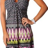 Alki'i Honeycomb Print Casual Evening Party Cocktail Sun Dress