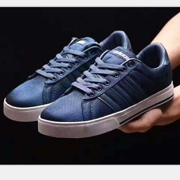 Adidas fashion women man sports running shoes sneakers navy blue-white logo H-PSXY