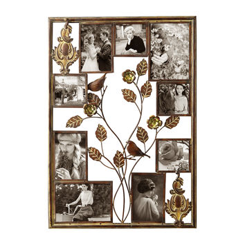 Decorative Bronze-Color Iron Wall Hanging Collage Picture Photo Frame (9-Opening)