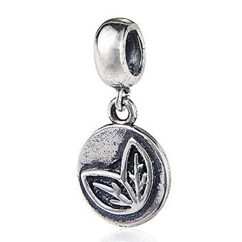 Charmstar Lucky Religious Series Dangle Charm Authentic Antique 925 Sterling Silver Bead Fit European Style Spiritual Bracelet or Necklace Leaves Live and Grow Pendant