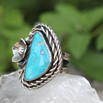 Turquoise Ring Natural Turquoise Ring Sterling Silver Turquoise Ring Nacozari Turquoise Bohemian Ring Statement Ring Turquoise Jewelry