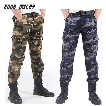Winter Double Layer Men's Baggy Cargo Pants Fleece Lined Thick Warm Multi-pocket Military Camouflage Tactical Trousers