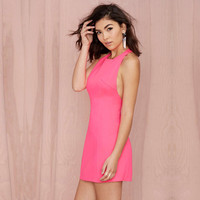 Pink Sleeveless Halter A-Line Mini Dress