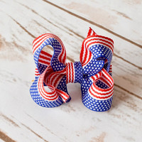 Patriotic Hair Bow, Baby Hair Bow, 4th of July Hair Bows, 2 inch Bows, Toddler hair Bows, Alligator Clips, Snap Clips, Barrette, Hairbow,200