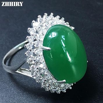 ZHHIRY Real Natural Green Chalcedony Ring Genuine Solid 925 Sterling Silver For Woman Gem Rings Big Stone Fine Jewelry