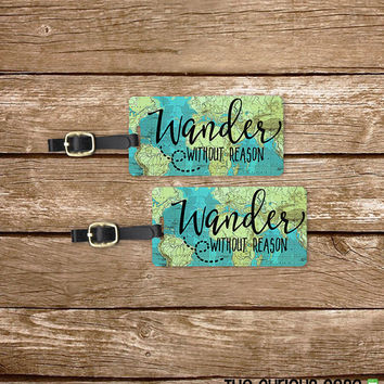 Luggage Tag Set Wander without reason Vintage Map Metal Luggage Tag Set With Printed Custom Info On Back, 2 Tags Choice of Straps