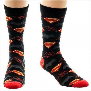 Batman vs Superman Logo Dawn of Justice Cosplay Costume Crew Socks LICENSED NEW