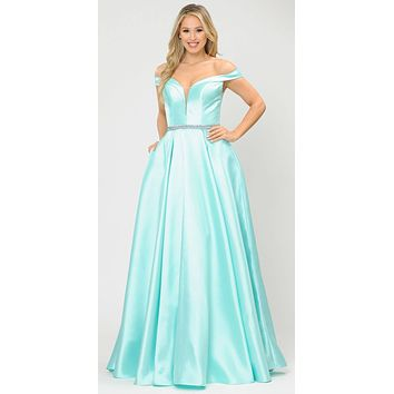 Silky Satin Off-Shoulder Long Prom Dress Mint with Pockets