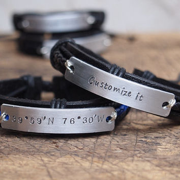 Personalized men's Bracelet, Personalized men's coordinates bracelet, engraved men's latitude longitude bracelet, Men's leather bracelet