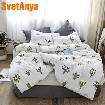 Svetanya Cactus Print Quilt Cotton winter Throws Blanket White Plaids warm Bedding Filler Queen Full King size
