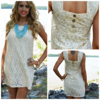 Paxton Hill Natural Lace Sleeveless Shift Dress