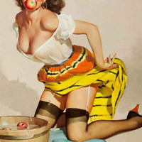 Bobbing for Apples Pin-up Girl Poster 11x17