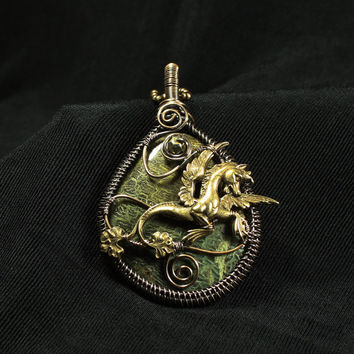 Pegasus Pendant, Natural Green Stone Necklace, Bronze Wire Wrapped Pendant, Mythical Necklace, One of a Kind, Horse Pendant