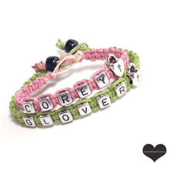 Name Couples Bracelet with Heart Lock Bead