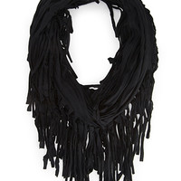 FOREVER 21 Fringed Infinity Scarf Black One