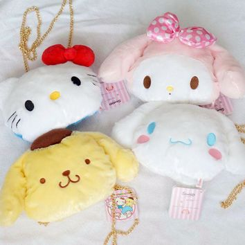 Cute My Melody Hello Kitty Cinnamoroll Pudding Dog Plush Backpack Soft Stuffed Animals Doll Satchel Chain Shoulder Bags For Gift