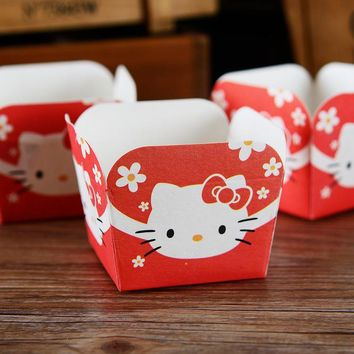 Hello kitty decoration cupcake case, square muffin paper cake cups, cupcakes holder