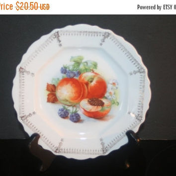 CIJ SALE Vintage Bavarian Hand Painted Peach Plate, Home Decor