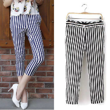 Women's Fashion Stylish Stripes Casual Linen Pants Capri Skinny Pants [5013289860]