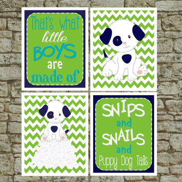 Set of 4 Baby Nursery Prints What Little Boys are Made of - Boys Room Wall Art Navy Lime Turquoise Puppy Dog Art Print - Nursery wall decor