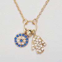 Necklace / Spring Summer Necklace / Hamsa Hand Turky Eye Pendant Necklace