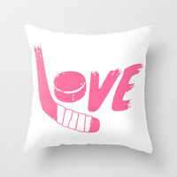 Love Hockey Throw Pillow by LookHUMAN