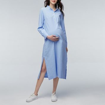Oversized 2018 Autumn Women Casual Loose Maxi Long Dress Vintage Stand Colalr Long Sleeve Split Vestidos Maternity Clothings 5XL