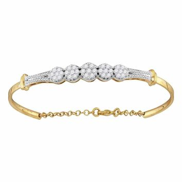 10kt Yellow Gold Women's Round Diamond Cluster Promise Bangle Bracelet 1.00 Cttw - FREE Shipping (US/CAN)