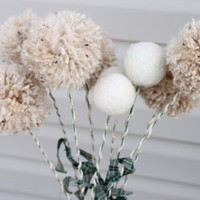 Beige Yarn Pom Pom Flowers and 3 Winter White by Stitchcrafts
