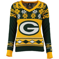 Women's Green Bay Packers NFL Klew Green/Gold Big Logo V-Neck Ugly Sweater